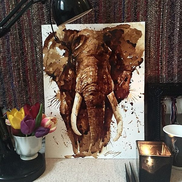 Coffee-Paintings-elephant