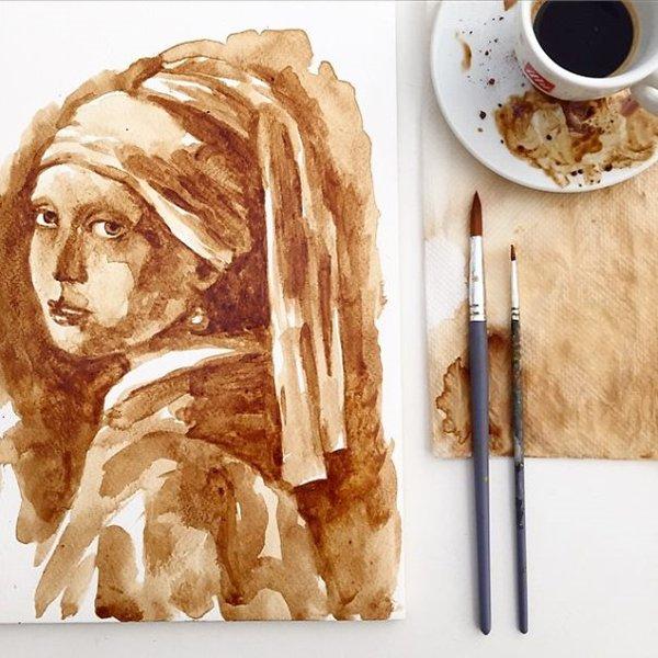 Coffee-Paintings-pearl-earring