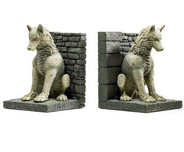 Game of Thrones Direwolf Bookends grey