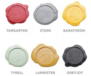 Game of Thrones Wax Seal Coasters houses