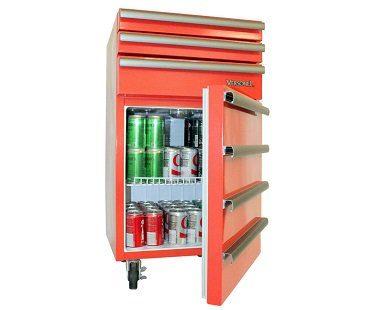 Garage Toolbox Refrigerator open