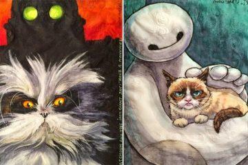 Napkins Famous Cats Robots