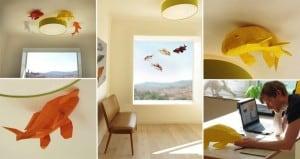 Paper koi Fish Ceiling