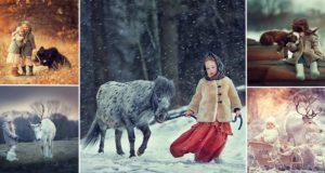 elena karneeva children and animals photos