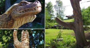 tree struck by lightning dragon sculpture