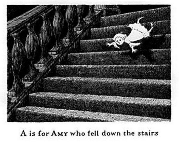girl falling stairs