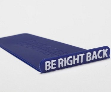 be right back bookmark blue