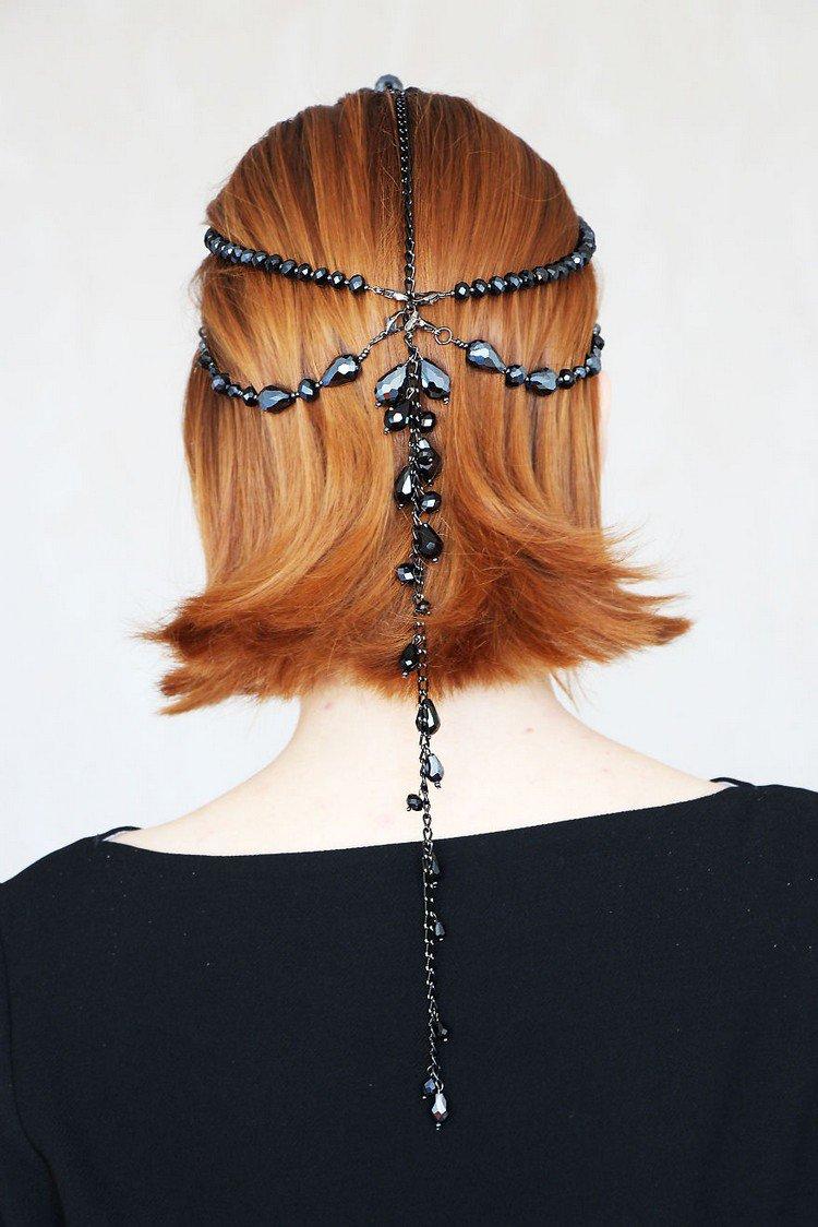 black beaded headpiece back