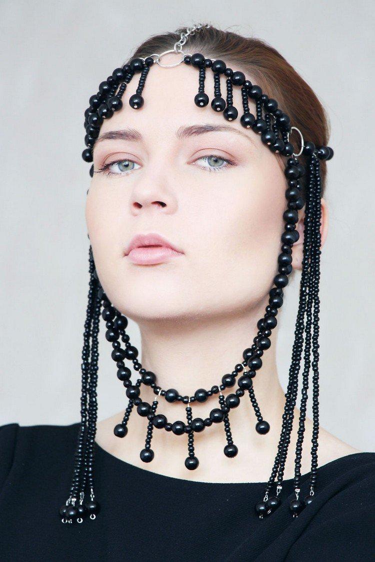 black beaded headpiece