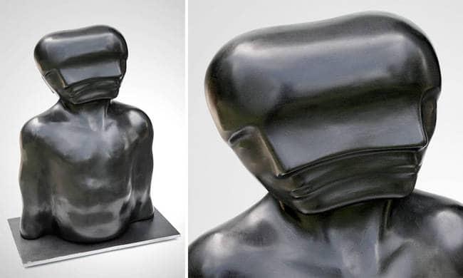 black head rocking torso sculpture
