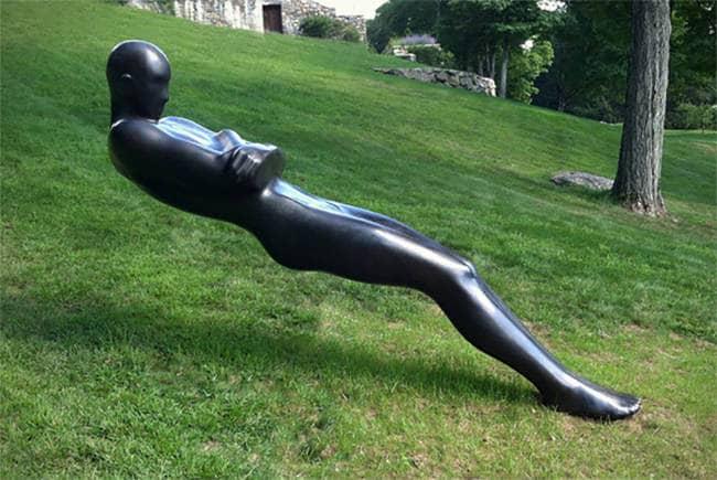 black human sculpture outside