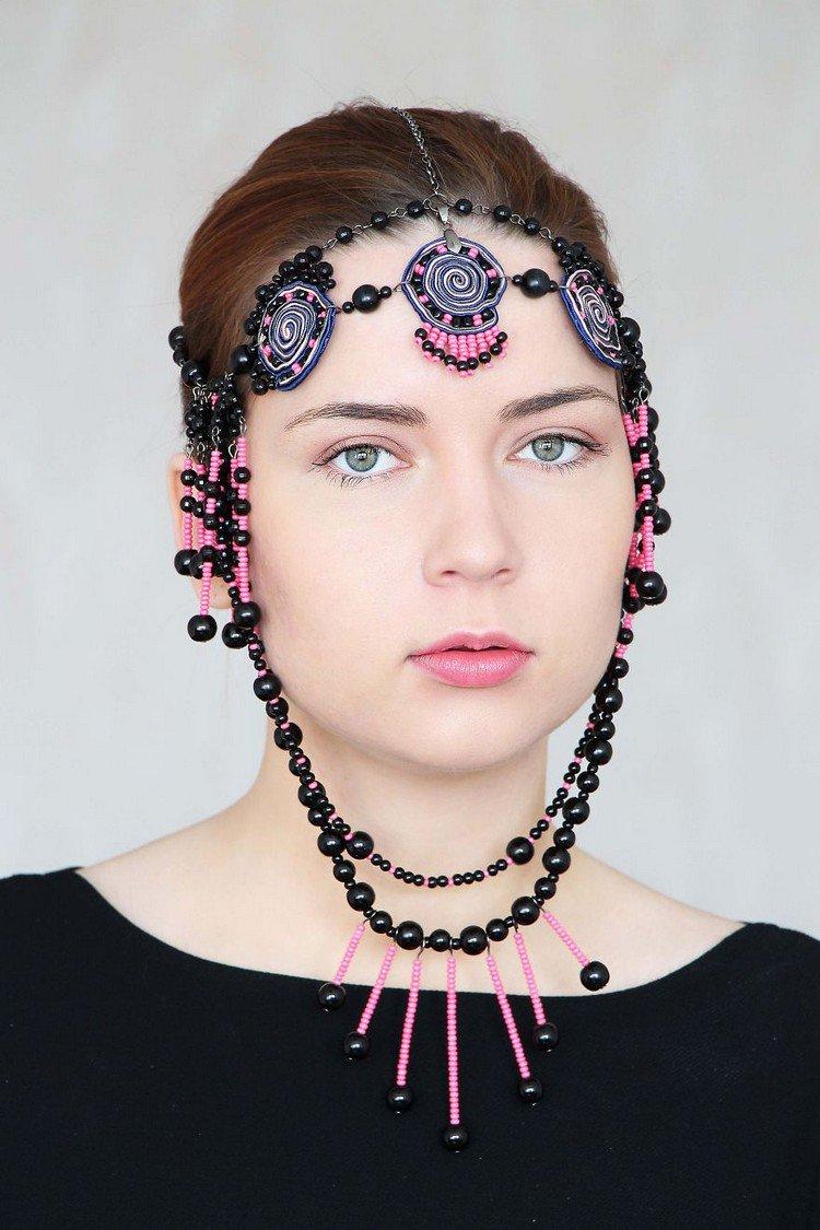 black pink headpiece