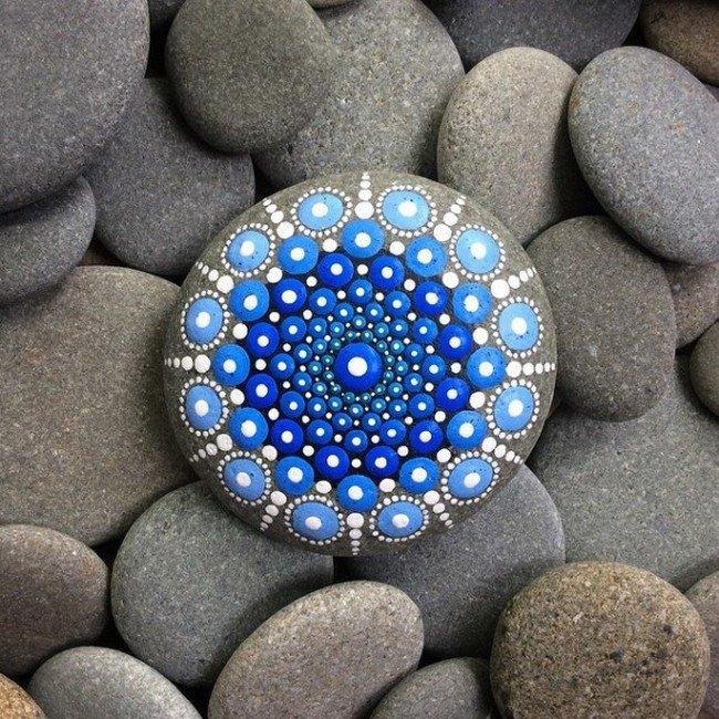 blue mandala stone