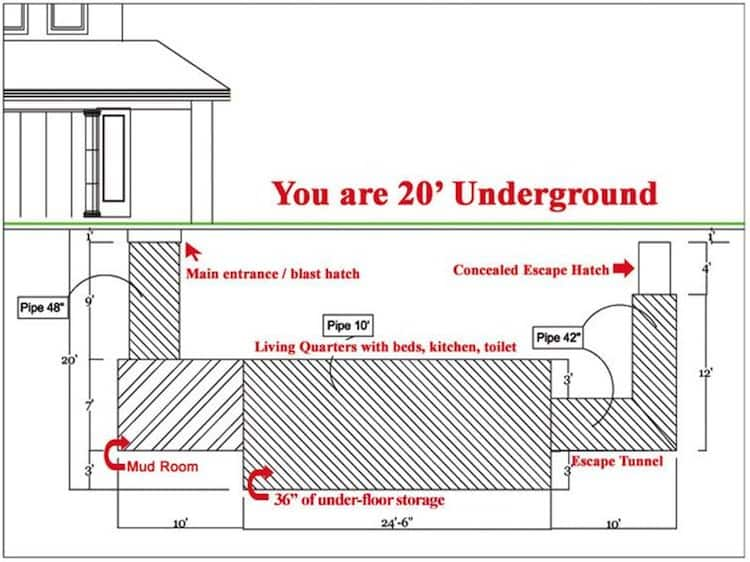 This secret underground bunker home for millionaires is for Underground homes floor plans
