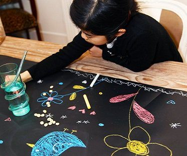 chalk board table runner drawing