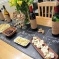 chalk board table runner drawing wines
