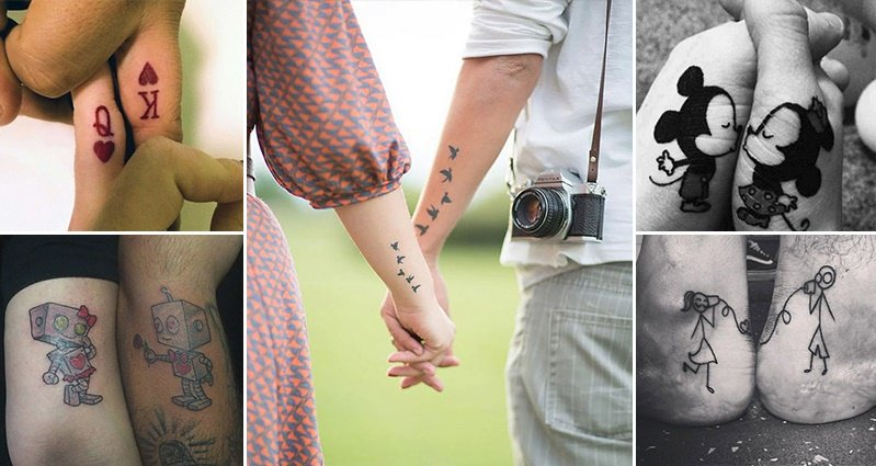 cute lovers Matching Tattoos