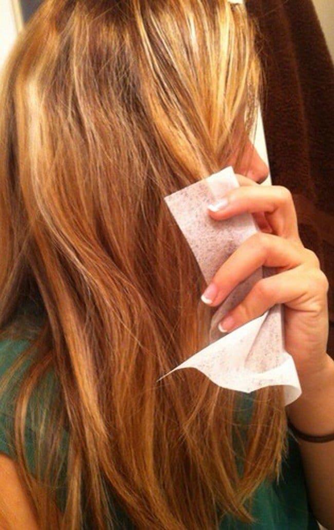 dryer sheet hair