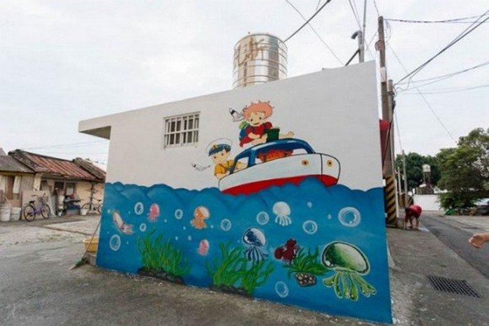 ghibli boat mural