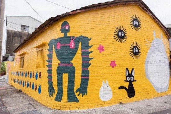 ghibli robot mural