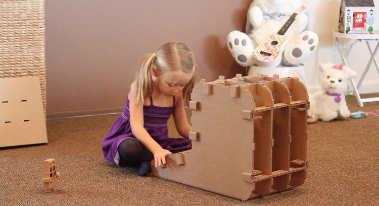 girl assembling furniture