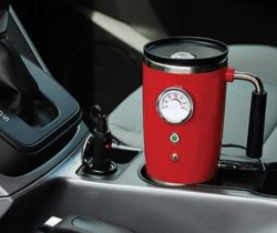 heated travel mug red