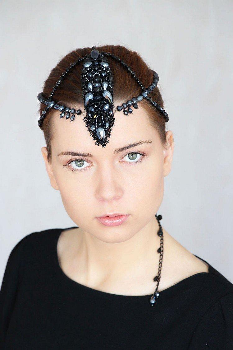 jeweled black beaded headpiece