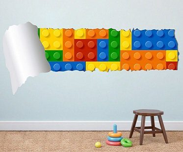 lego and torn wallpaper decal
