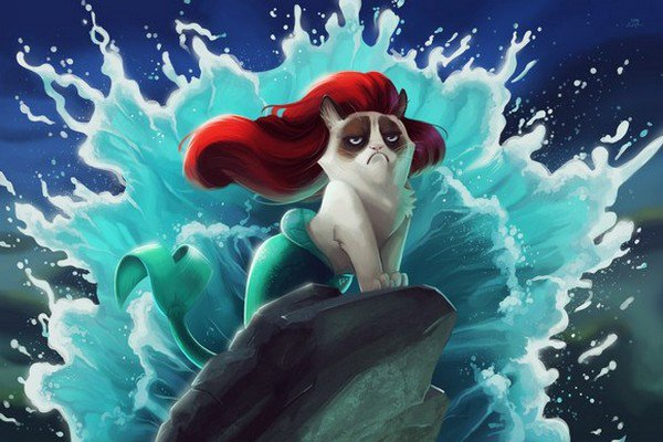 little mermaid grumpy cat