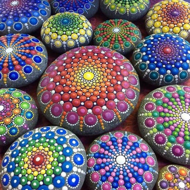 mandala stones close up