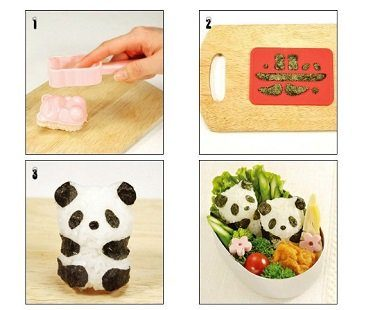 panda rice ball mold steps