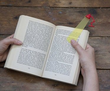 reading lamp bookmark red
