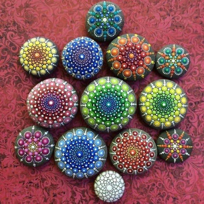 rows mandala stones