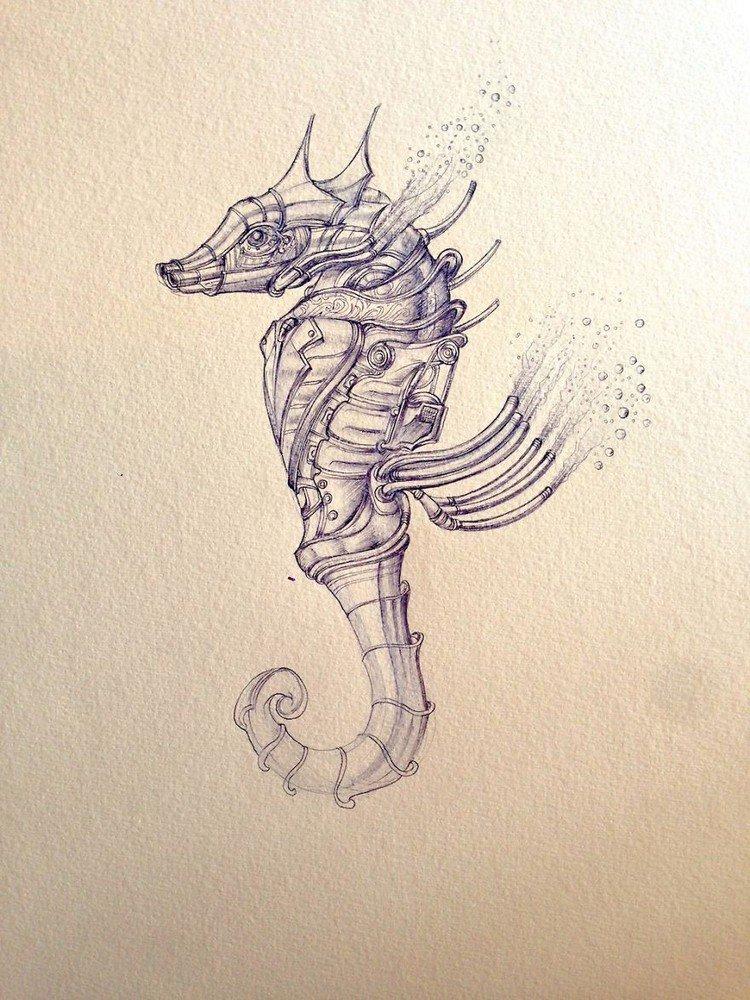 seahorse steampunk