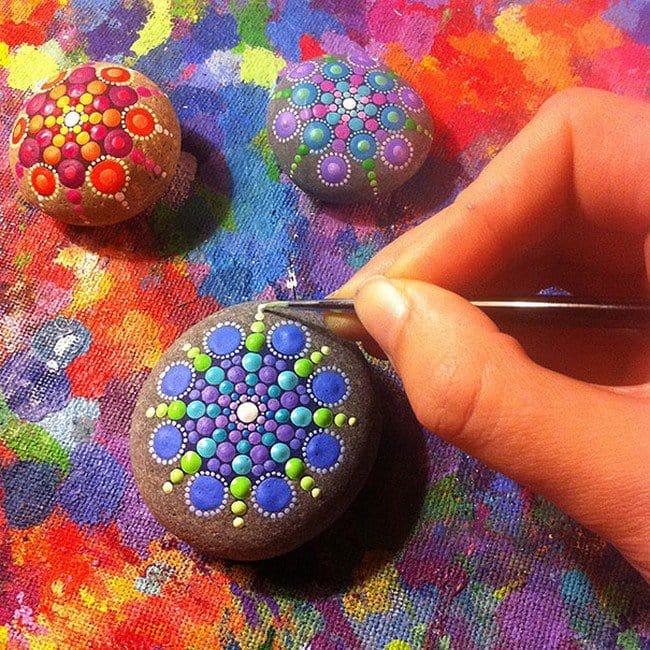 trio mandala stones painting