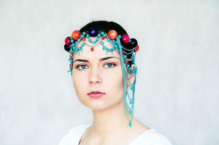turquoise headpiece balls