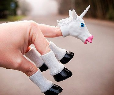 unicorn finger puppet white