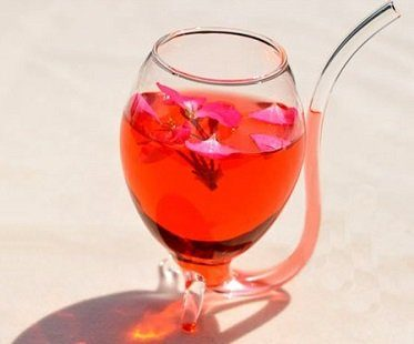 wine glass with built in straw