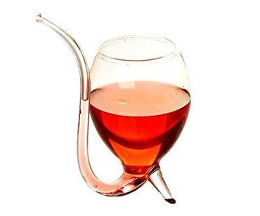 wine glass with built in straw sipper