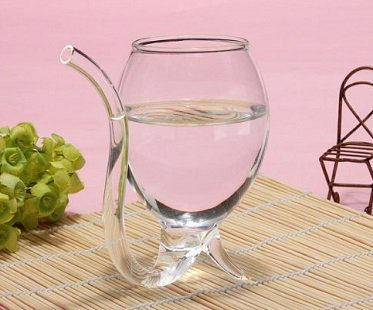 wine glass with built in straw water