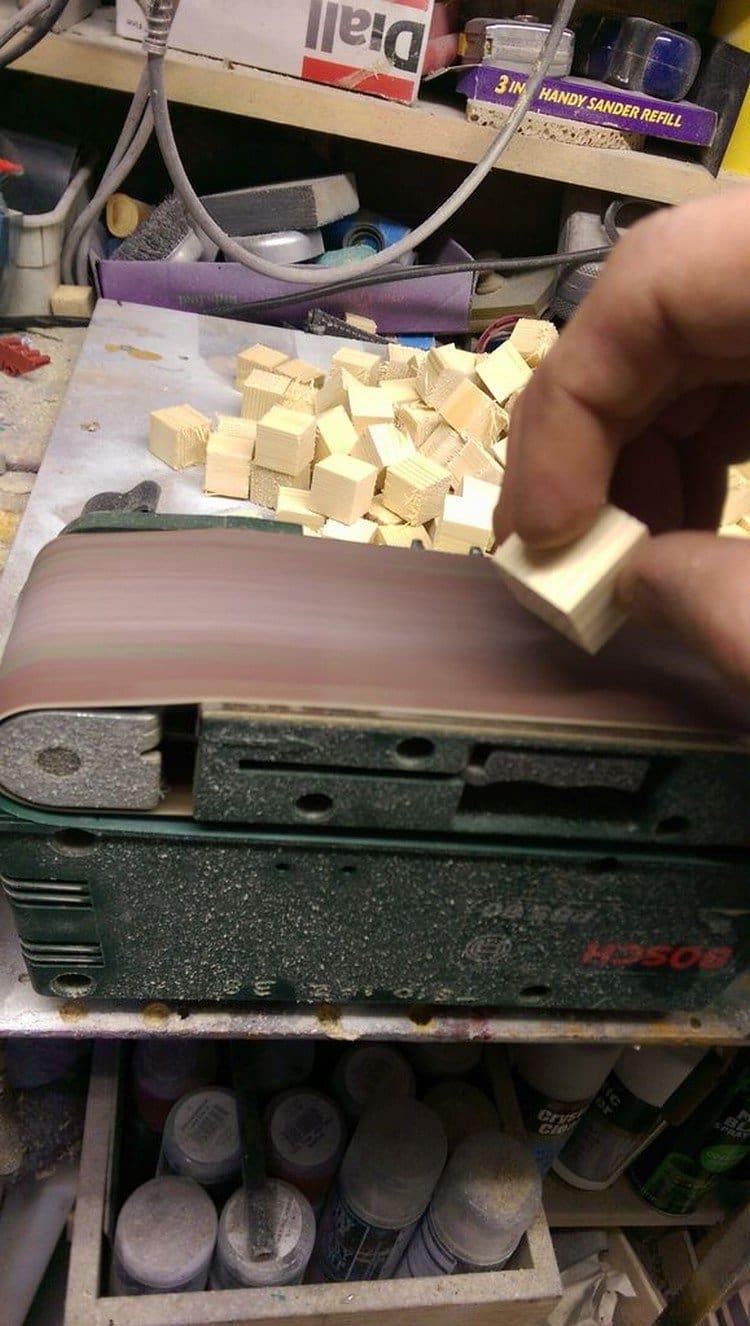 wooden block sanding