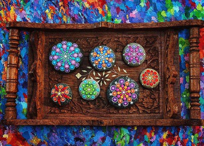 wooden tray mandala stones