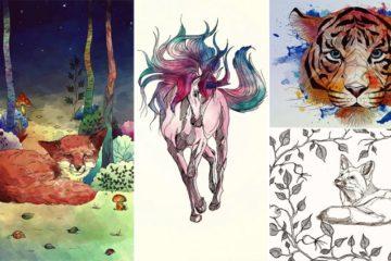 Animal Themed Line Art