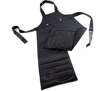 Apron With Built-In Oven Gloves black kitchen