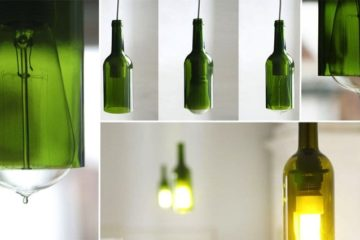 Ceiling Lamps Made From Wine Bottles