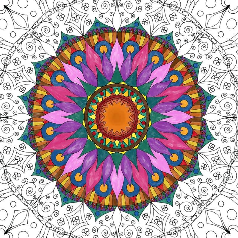 Coloring Oriental Mandala