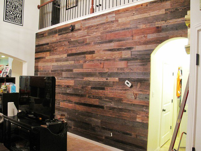 These Guys Built Awesome Diy Wooden Feature Wall Using