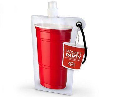 Flat Pocket Flask red