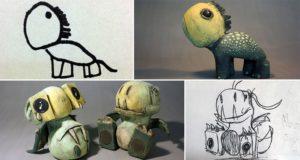 Kids Drawings Clay Sculptures