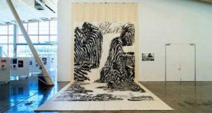 Landscape art using roller blades